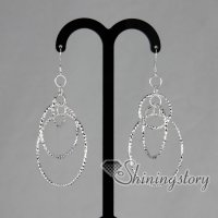 925 sterling silver filled brass loop dangle earrings