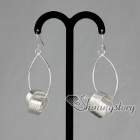 925 sterling silver filled brass loop round olive dangle earrings
