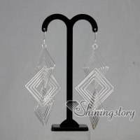 925 sterling silver filled brass openwork square dangle earrings