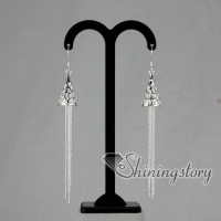 925 sterling silver filled brass openwork tassel glitter ball cone dangle earrings