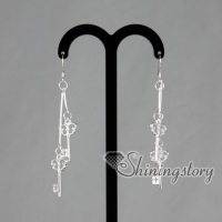 925 sterling silver filled brass openwork tassel key dangle earrings
