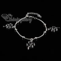 925 sterling silver filled brass silver ball four leaf shamrock bracelets with charms