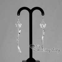 925 sterling silver filled brass silver glitter ball openwork butterfly dangle earrings