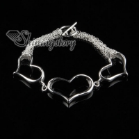 925 sterling silver filled brass tassel heart love toggle bracelets