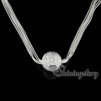 925 sterling silver filled brasstassel glitter ball pendants necklaces
