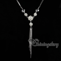 925 sterling silverv filled brass glitter ball tassel rose pendants necklaces