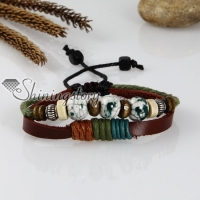 adjustable beads genuine leather charm bracelets unisex