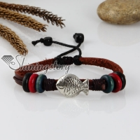 adjustable fish genuine leather charm bracelets unisex