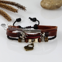 adjustable lock genuine leather charm bracelets unisex