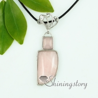 amethyst rose quartz agate glass opal jade semi precious stone necklaces with pendants openwork oblong knife
