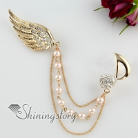 angel wing pearls rhinestone pin scarf brooch with chain