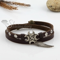 angel wings double layer with alloy genuine leather bracelets