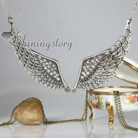angle wings copper antique long chain pendants necklaces