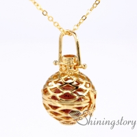 ball essential oil diffuser necklace diy diffuser necklace heart locket gold oil jewelry metal volcanic stone openwork necklaces