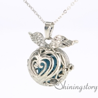 ball wings lockets for women diffuser necklace wholesale modern locket necklace essential necklaces metal volcanic stone openwork necklaces