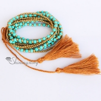 beaded tassel bracelet beaded wrap bracelets turquoise semi precious stone friendship best friends bracelets tassel multi layer layer bracelets jewelry