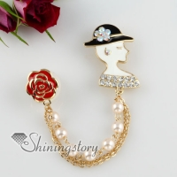 beauty and rose rhinestone pearls scarf brooch pin with chain