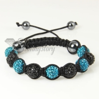 black alternating macrame disco ball pave beads bracelets