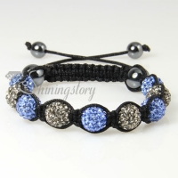 black diamond alternating macrame disco ball pave beads bracelets