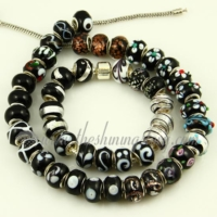 black murano glass big hole beads for fit charms bracelets