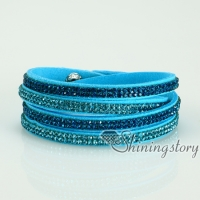 bling bling crystal rhinestone double layer wrap slake bracelets multi color