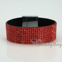 blingbling shiny crystal rhinestone magnetic buckle wrap slake bracelets muliti color leather bracelet