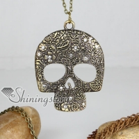 brass and crystal rhinestone antique style skull pendant long chain necklaces