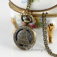 brass antique style la tour eiffel pocket watch pendant long chain necklaces