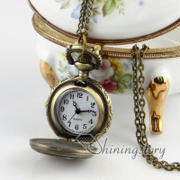brass antique style night owl pocket watch pendant long chain necklaces