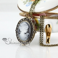 brass antique style openwork cameo lady head pocket watch pendant long chain necklaces