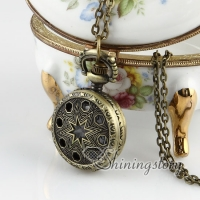 brass antique style openwork malta cross pocket watch pendant long chain necklaces