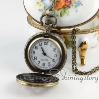 brass antique style openwork star pocket watch pendant long chain necklaces