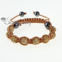 brown cord macrame disco glitter ball pave beads bracelets