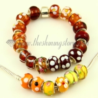brown lampwork glass beads for fit charms bracelets