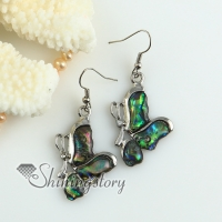 butterfly rainbow abalone oyster sea shell mother of pearl dangle earrings