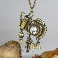 camera antique style long chain pendants necklaces