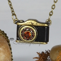 camera brass antique long chain pendants necklaces