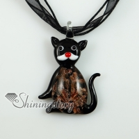 cat murano glass necklaces pendants glitter lampwork