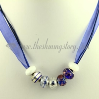 charms necklaces with european murano glass big hole beads