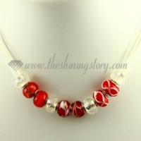 charms necklaces with european murano glass crystal beads