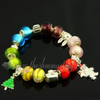 christmas charms bracelets with european murano glass beads