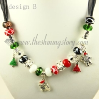 christmas charms necklaces with crystal murano glass charm beads