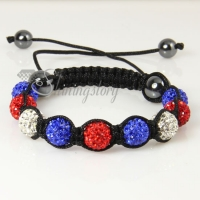 christmas color macrame disco ball pave beads bracelets
