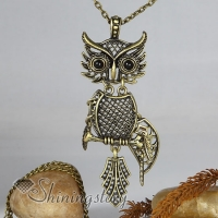 classic night owl antique long chain pendants necklaces