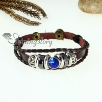 crystal charm genuine leather wrap bracelets unisex
