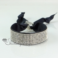 crystal rhinestone adjustable snap wrap slake bracelets