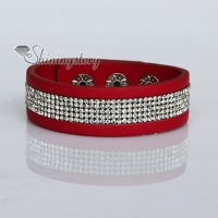 crystal rhinestone slake bracelets pu leather bracelets wristbands bling bling wrap bracelets arm band