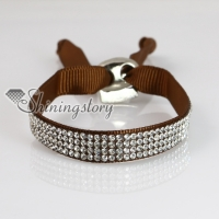 crystal rhinestone ribbon slake bracelets adjustable wristbands