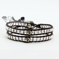 crystal silver skull bead beaded leather wrap bracelets