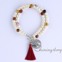 cultured freshwater pearl bracelet tree of life charm bracelet yoga jewelry boho jewelry wholesale